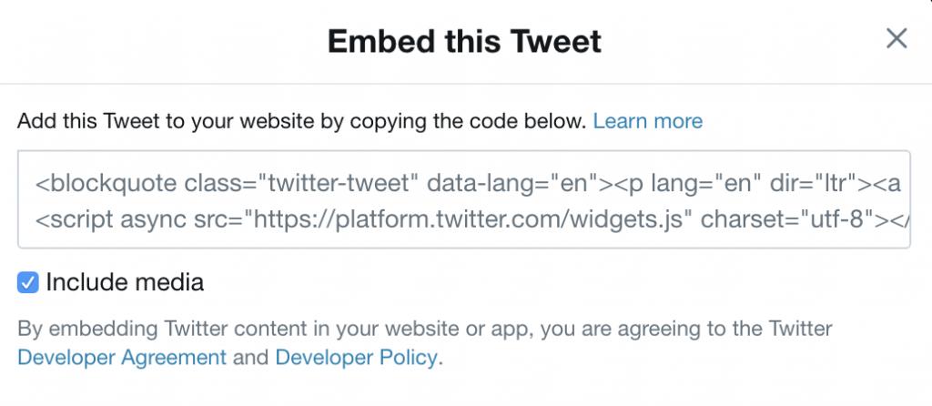 embed tweet code