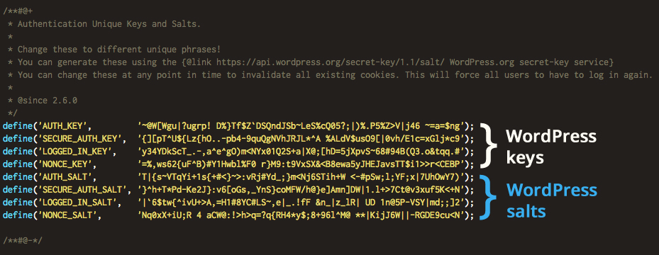 WordPress-secret-key